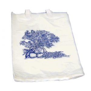 BEDSIDE BAG 7 X 11.5 INCH WHITE/BLUE FLORAL PRINT