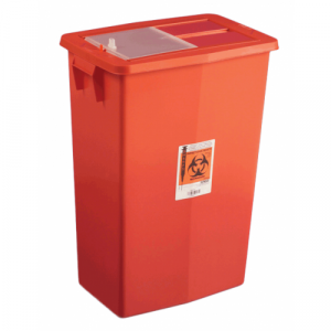 MULTI-PURPOSE SHARPS CONTAINER, VERTICAL ENTRY SLIDING LID, RED
