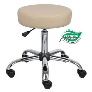 STOOL MEDICAL BEIGE VINYL W/BACK