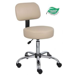 STOOL MEDICAL BEIGE VINYL W/O BACK