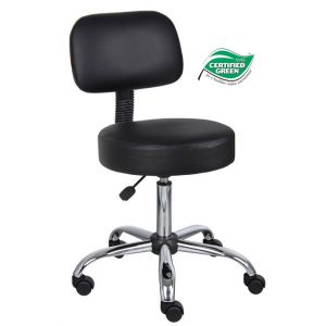 STOOL MEDICAL BLACK VINYL W/BACK