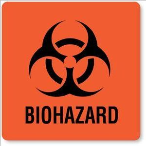 "BIOHAZARD LABEL, FLURSNT RED 6"" X 6"""