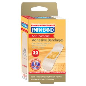 "ANTI-BACTERIAL ADHESIVE BANDAGE, 3/4""X 3"" SHEAR PLASTIC, 30/BX"